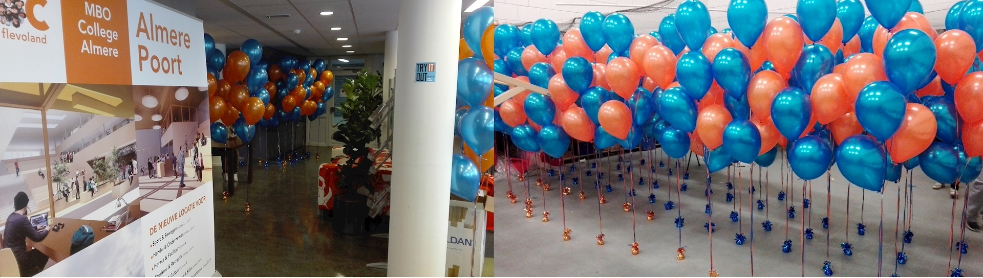 ballon decoratie open dag ROC Almere trossen