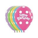 happy birthday ballon met polka stippen gemengd